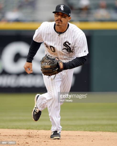 Tyler Saladino of the Chicago White Sox fields against the Detroit Tigers on April 04 2017 at Guaranteed Rate Field in Chicago Illinois The Tigers...