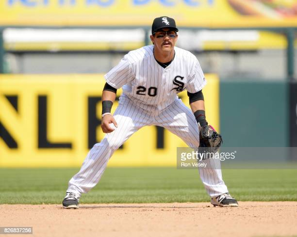 Tyler Saladino of the Chicago White Sox fields against the Toronto Blue Jays on August 2 2017 at Guaranteed Rate Field in Chicago Illinois