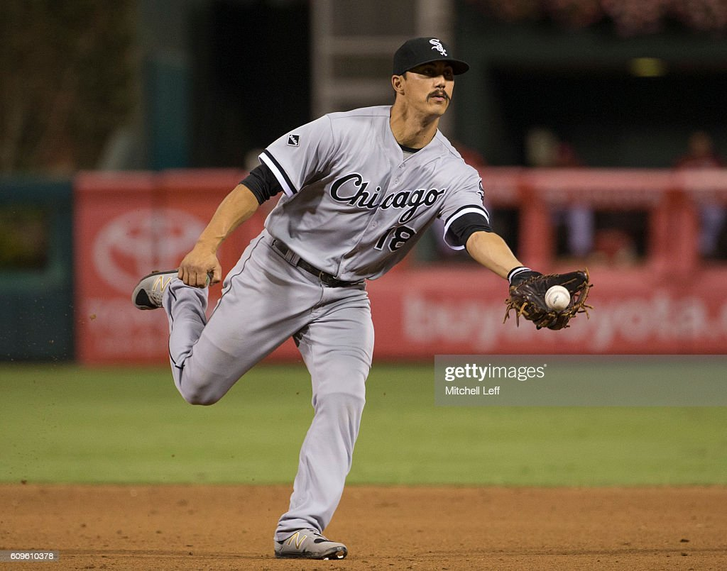 Tyler Saladino #18 of the Chicago White Sox flips the ball to first base to record the last out in the bottom of the fifth inning against the Philadelphia Phillies at Citizens Bank Park on September 21, 2016 in Philadelphia, Pennsylvania. The Phillies defeated the White Sox 8-3.