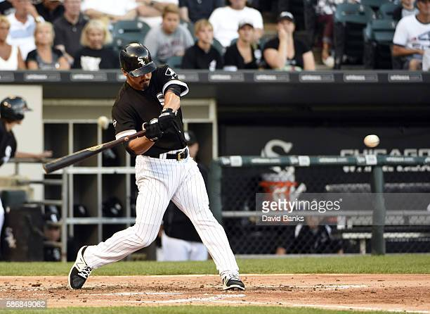 Tyler Saladino of the Chicago White Sox hits a home run against the Baltimore Orioles during the third inning on July 6 2016 at U S Cellular Field in...