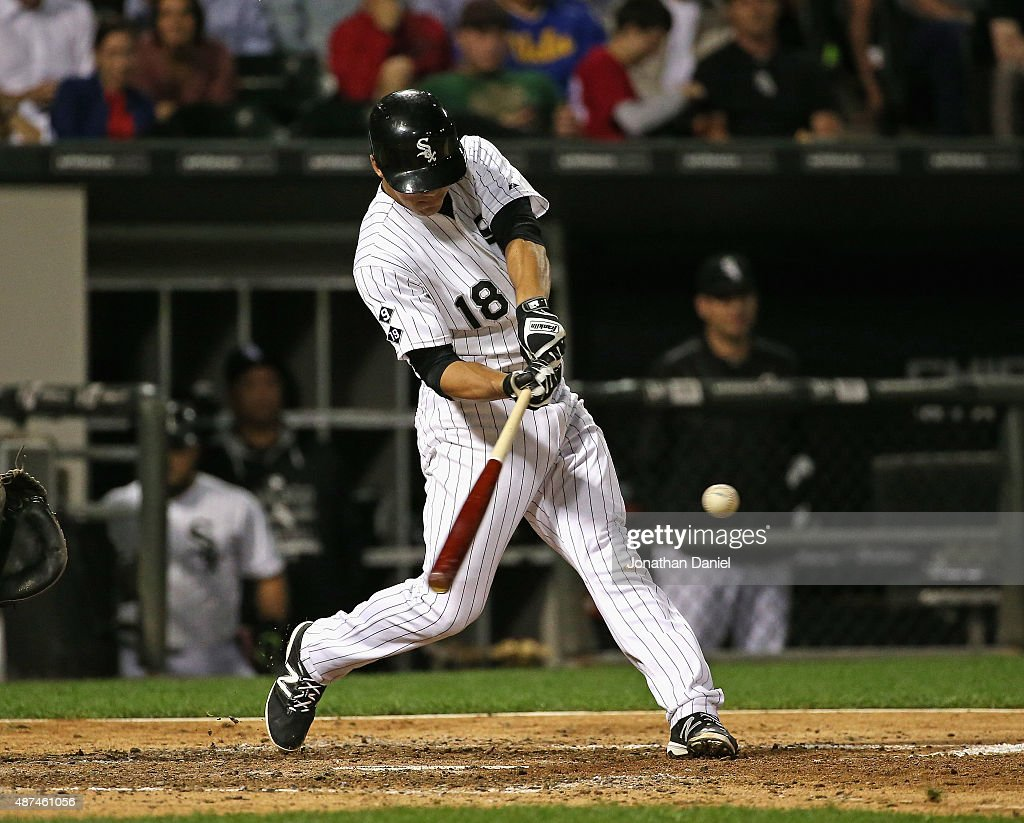 Tyler Saladino #18 of the Chicago White Sox hits a solo home run in the 6th inning against the Cleveland Indians at U.S. Cellular Field on September 0, 2015 in Chicago, Illinois.