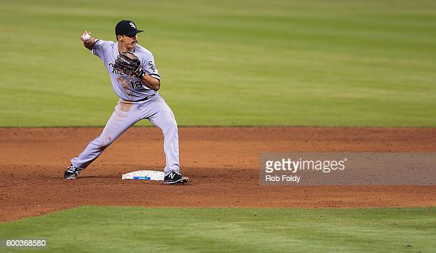 Tyler Saladino of the Chicago White Sox in action during the game against the Miami Marlins at Marlins Park on August 13 2016 in Miami Florida