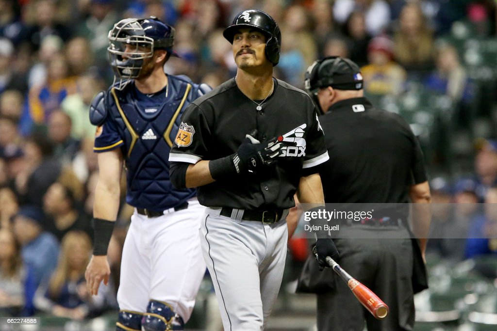 Tyler Saladino #20 of the Chicago White Sox reacts after striking out in the first inning against the Milwaukee Brewers during an exhibition game at Miller Park on March 31, 2017 in Milwaukee, Wisconsin.