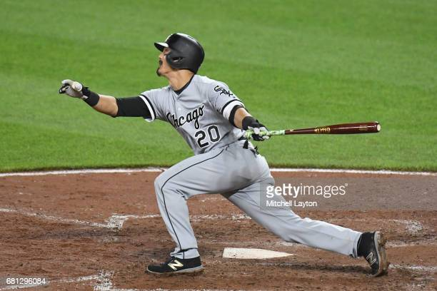 Tyler Saladino of the Chicago White Sox takes a swing during a baseball game against the Baltimore Orioles at Oriole Park at Camden Yards on May 5...