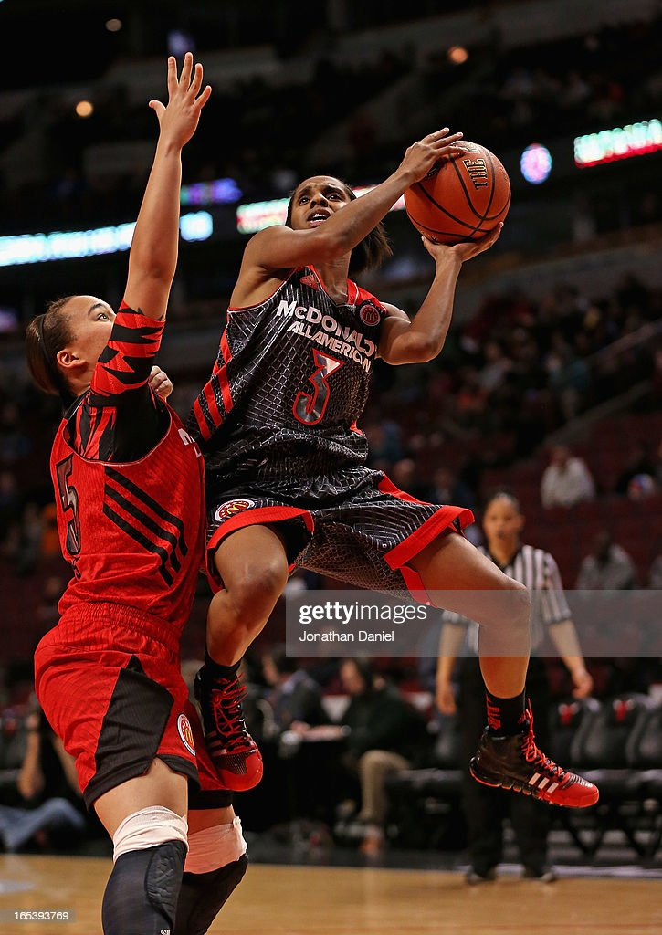 Tyler Scaife #3 of the West shoots against Makayla Epps #25 of the East during the 2013 McDonald's All American game at United Center on April 3, 2013 in Chicago, Illinois.
