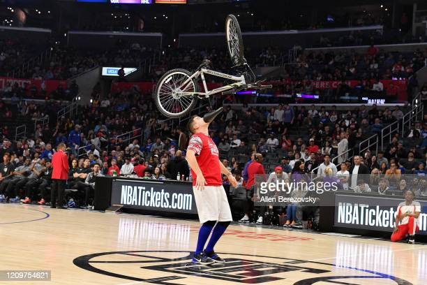 Tyler Scheuer performs during halftime of a basketball game between the Los Angeles Clippers and the Philadelphia 76ers at Staples Center on March 01...