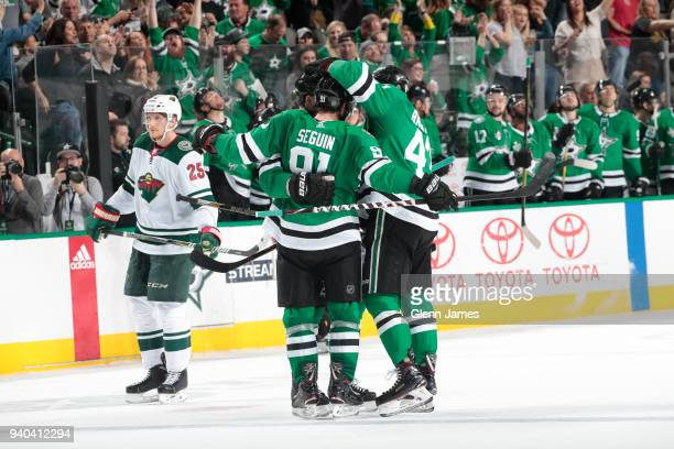 Tyler Seguin Alexander Radulov and the Dallas Stars celebrates his 40th goal of the season against the Minnesota Wild at the American Airlines Center...