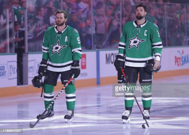 Tyler Seguin and Jamie Benn of the Dallas Stars before a game against the Calgary Flames at the American Airlines Center on October 10 2019 in Dallas...