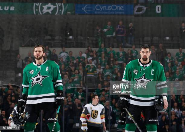 Tyler Seguin and Jamie Benn of the Dallas Stars get set for a game against the Vegas Golden Knights at the American Airlines Center on December 9...