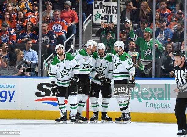 Tyler Seguin Marc Methot Jamie Benn and Alexander Radulov of the Dallas Stars celebrate after a goal during the game against the Edmonton Oilers on...