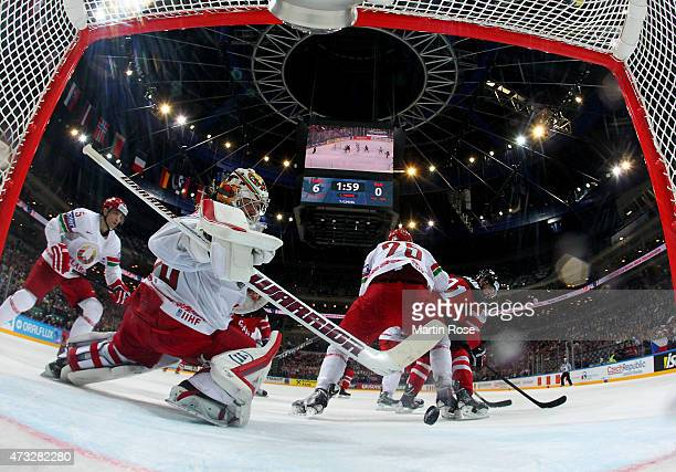 Tyler Seguin of Canada is scoring the 4th goal over Kevin Lalande goalkeeper of Belarus during the IIHF World Championship quarter final match...