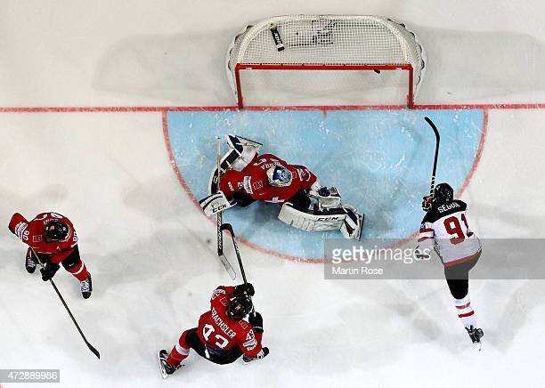 Tyler Seguin of Canada scores his team's opening goal during the IIHF World Championship group A match between Switzerland and Canada at o2 Arena on...