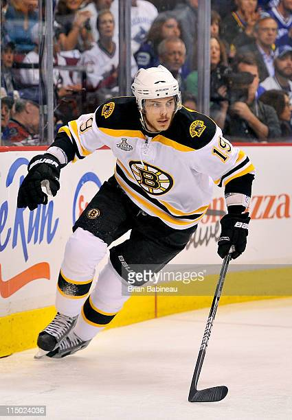 Tyler Seguin of the Boston Bruins plays against the Vancouver Canucks during the first period of game one of the 2011 NHL Stanley Cup Finals at the...