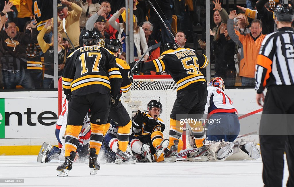 Tyler Seguin #19 of the Boston Bruins scores a goal against the Washington Capitals in Game Seven of the Eastern Conference Quarterfinals during the 2012 NHL Stanley Cup Playoffs at TD Garden on April 25, 2012 in Boston, Massachusetts.