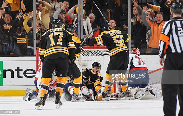 Tyler Seguin of the Boston Bruins scores a goal against the Washington Capitals in Game Seven of the Eastern Conference Quarterfinals during the 2012...