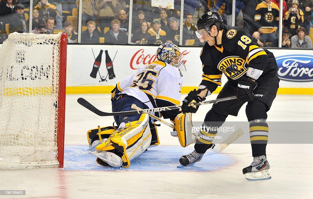 Tyler Seguin #19 of the Boston Bruins scores a shoot out goal against Pekka Rinne #35 of the Nashville Predators at the TD Garden on February 11, 2012 in Boston, Massachusetts.
