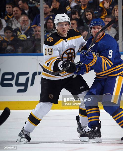 Tyler Seguin of the Boston Bruins skates against the Buffalo Sabres at the HSBC Arena on November 3 2010 in Buffalo New York The Bruins defeated the...