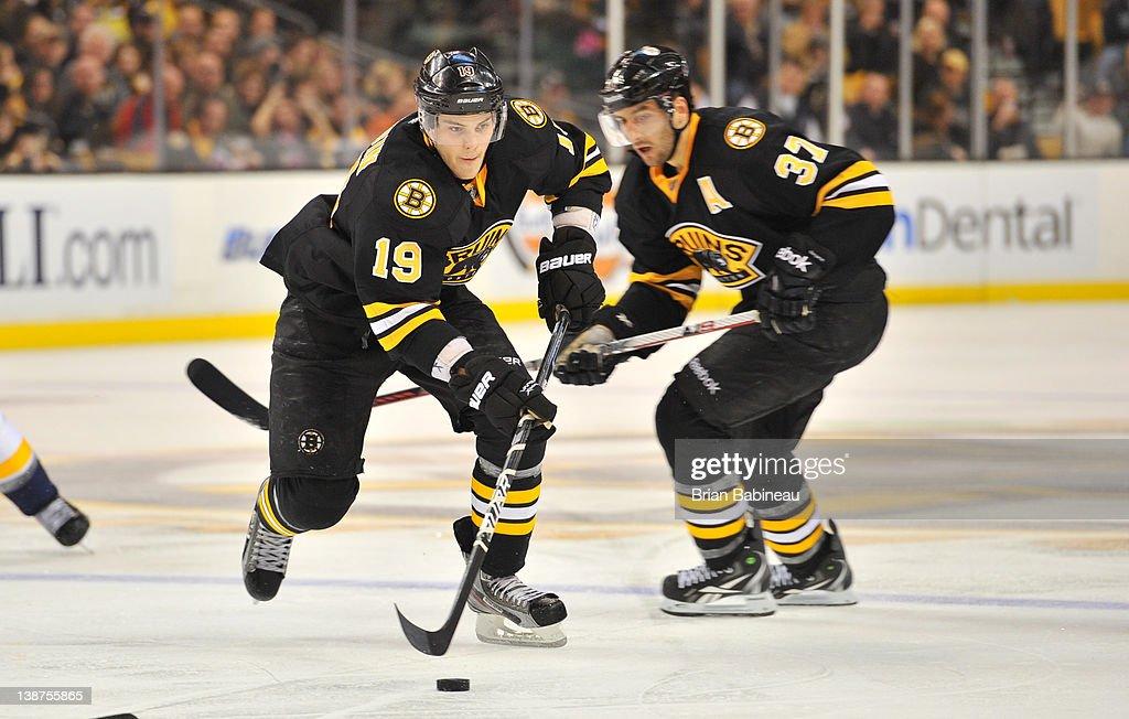 Tyler Seguin #19 of the Boston Bruins skates with the puck against the Nashville Predators at the TD Garden on February 11, 2012 in Boston, Massachusetts.