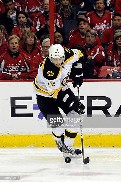 Tyler Seguin of the Boston Bruins skates with the puck against the Washington Capitals in Game Six of the Eastern Conference Quarterfinals during the...