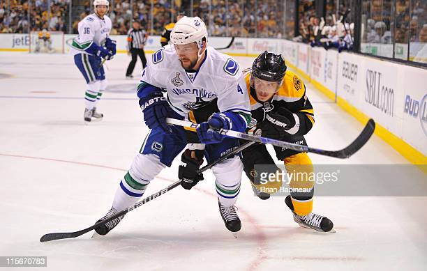 Tyler Seguin of the Boston Bruins watches the play against Keith Ballard of the Vancouver Canucks in Game Four of the 2011 NHL Stanley Cup Final at...