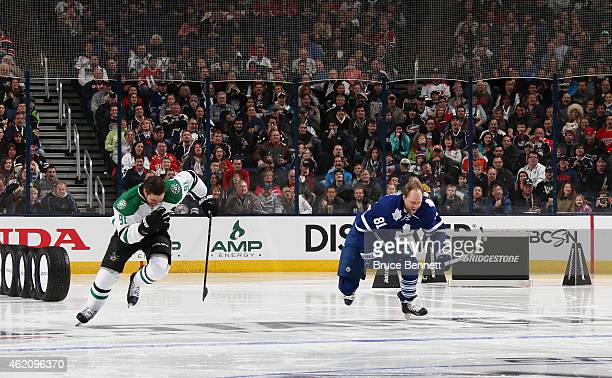 Tyler Seguin of the Dallas Stars and Team Toews competes against Phil Kessel of the Toronto Maple Leafs and Team Foligno during the Bridgestone NHL...
