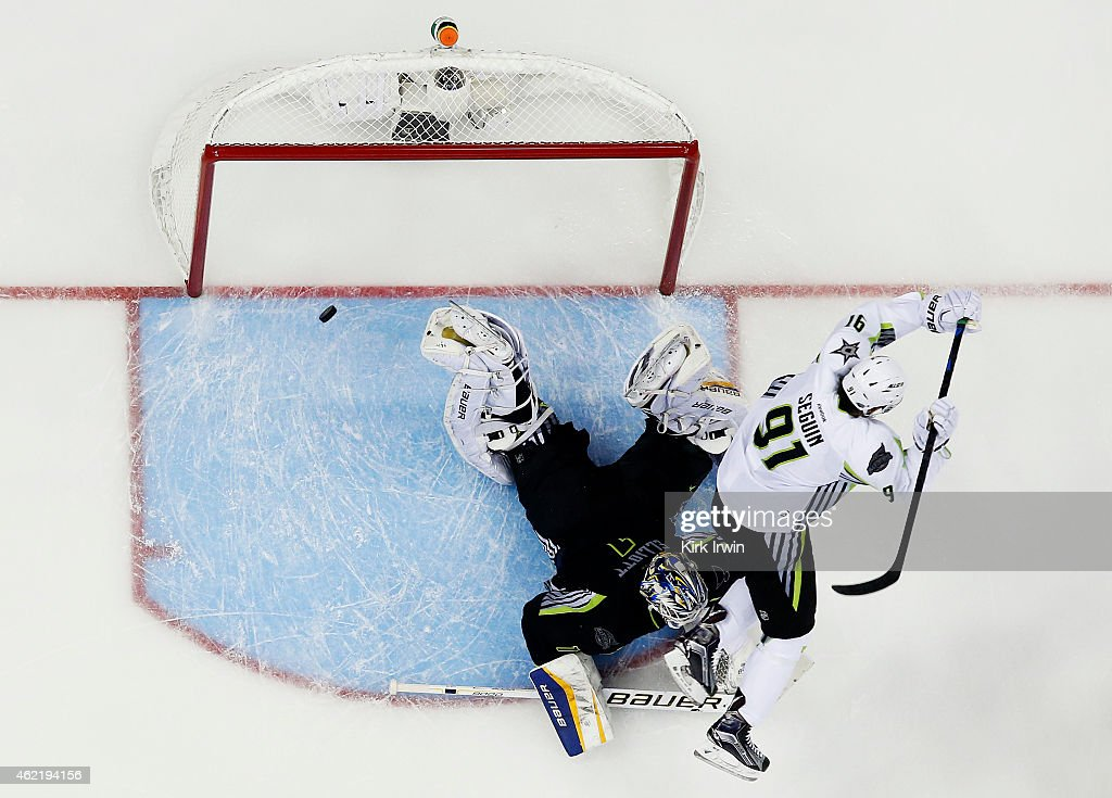 Tyler Seguin #91 of the Dallas Stars and Team Toews scores a goal in the third period against Brian Elliott #1 of the St. Louis Blues and Team Foligno during the 2015 Honda NHL All-Star Game at Nationwide Arena on January 25, 2015 in Columbus, Ohio.