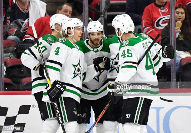 Tyler Seguin of the Dallas Stars celebrates after scoring a goal against the Carolina Hurricanes during the first period at PNC Arena on February 25,...