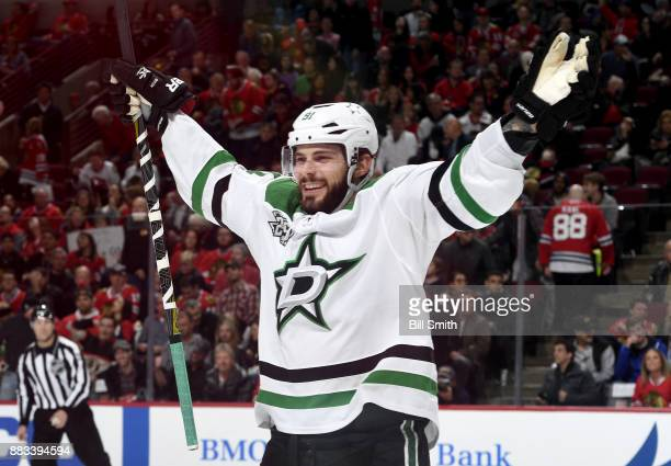 Tyler Seguin of the Dallas Stars celebrates after the Stars defeated the Chicago Blackhawks 43 in overtime at the United Center on November 30 2017...