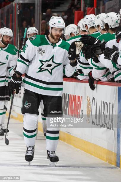 Tyler Seguin of the Dallas Stars celebrates his first period power play goal against the Ottawa Senators at Canadian Tire Centre on March 16 2018 in...