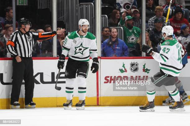 Tyler Seguin of the Dallas Stars celebrates with teammate Alexander Radulov after scoring a goal against the Colorado Avalanche at the Pepsi Center...