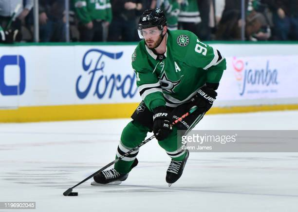 Tyler Seguin of the Dallas Stars handles the puck against the Colorado Avalanche at the American Airlines Center on December 28, 2019 in Dallas,...