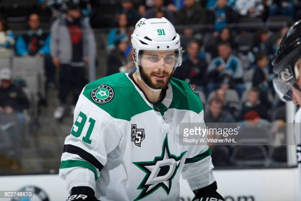 Tyler Seguin of the Dallas Stars looks on during the game against the San Jose Sharks at SAP Center on February 18 2018 in San Jose California