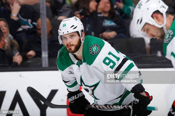 Tyler Seguin of the Dallas Stars looks on during the game against the San Jose Sharks at SAP Center on April 3 2018 in San Jose California Tyler...