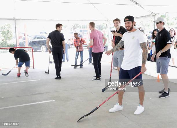 Top draft prospect Filip Zadina attends the Community Ball Hockey Clinic at the Dr Pepper StarCenter as part of the 2018 NHL Entry Draft on June 21...