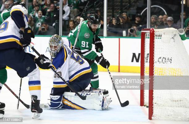 Tyler Seguin of the Dallas Stars scores a goal against Jordan Binnington of the St Louis Blues during the first period of Game Six of the Western...