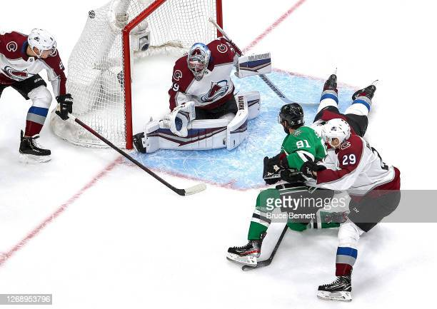 Tyler Seguin of the Dallas Stars scores a goal past Pavel Francouz of the Colorado Avalanche during the first period in Game Three of the Western...
