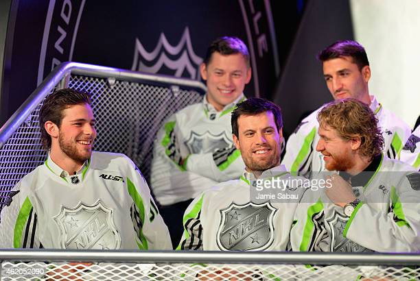 Tyler Seguin of the Dallas Stars Shea Weber of the Nashville Predators and Jakub Voracek of the Philadelphia Flyers and Team Toews sit onstage after...