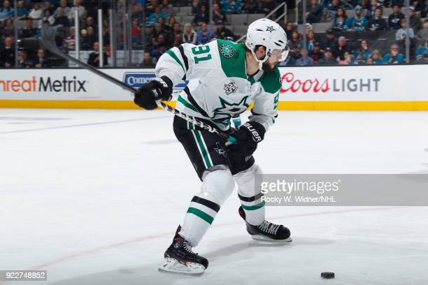 Tyler Seguin of the Dallas Stars shoots the puck against the San Jose Sharks at SAP Center on February 18 2018 in San Jose California