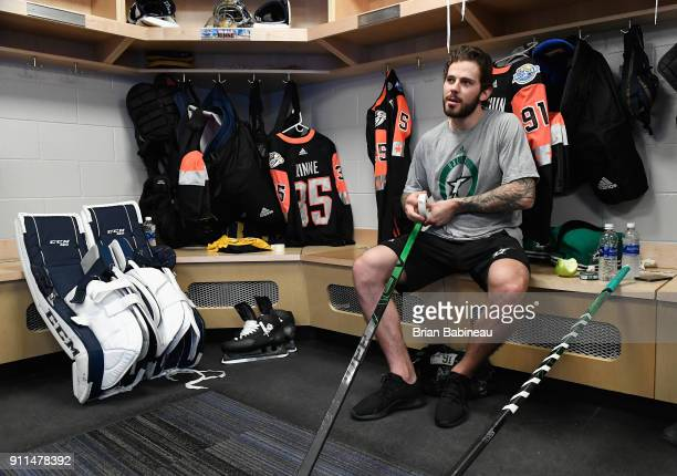 Tyler Seguin of the Dallas Stars sits in the locker room prior to the 2018 Honda NHL AllStar Game at Amalie Arena on January 28 2018 in Tampa Florida