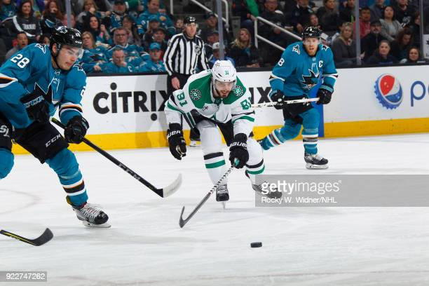 Tyler Seguin of the Dallas Stars skates after the puck against Timo Meier of the San Jose Sharks at SAP Center on February 18 2018 in San Jose...