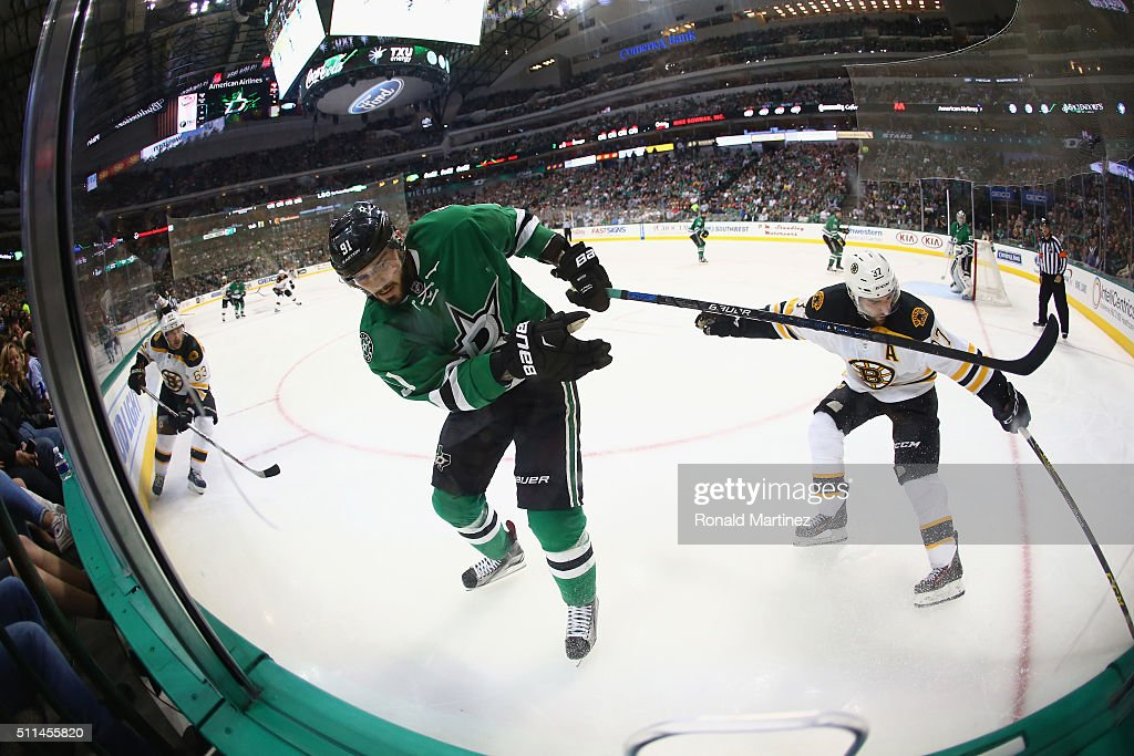 Tyler Seguin #91 of the Dallas Stars skates against the Boston Bruins in the second period at American Airlines Center on February 20, 2016 in Dallas, Texas.