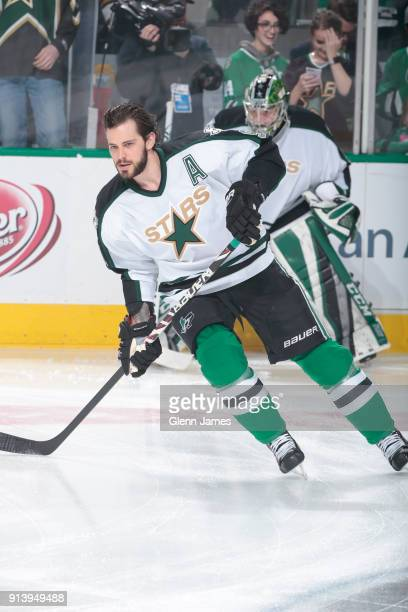 Tyler Seguin of the Dallas Stars skates during warm ups wearing a 1993 era jersey as part of 'Retro Night' before a game against the Minnesota Wild...