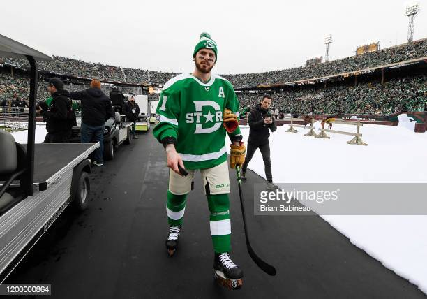 Tyler Seguin of the Dallas Stars walks back to the locker room after warmup prior to the 2020 NHL Winter Classic between the Nashville Predators and...