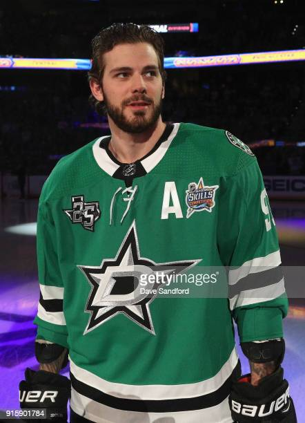 Tyler Seguin of the Dallas StTyler Seguin of the Dallas Starsstands on the ice before the 2018 GEICO NHL AllStar Skills Competition at Amalie Arena...
