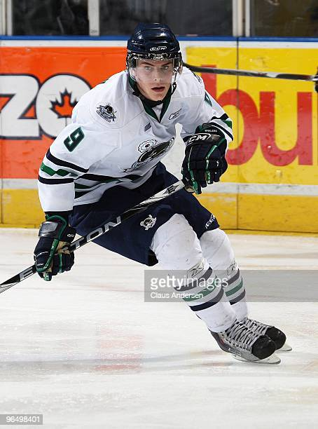 Tyler Seguin of the Plymouth Whalers skates in a game against the London Knights on February 5 2010 at the John Labatt Centre in London Ontario The...