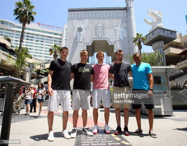 Tyler Seguin Taylor Hall Cam Fowler Brett Connolly and Emerson Etem attend the Top NHL Draft Prospects At The Hollywood Walk of Fame on June 23 2010...