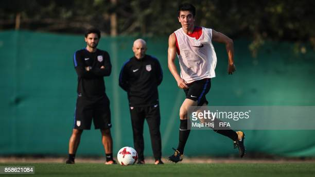 Tyler Shaver of USA controls the ball during a training ahead of the FIFA U17 World Cup India 2017 tournament at on October 6 2017 in New Delhi India