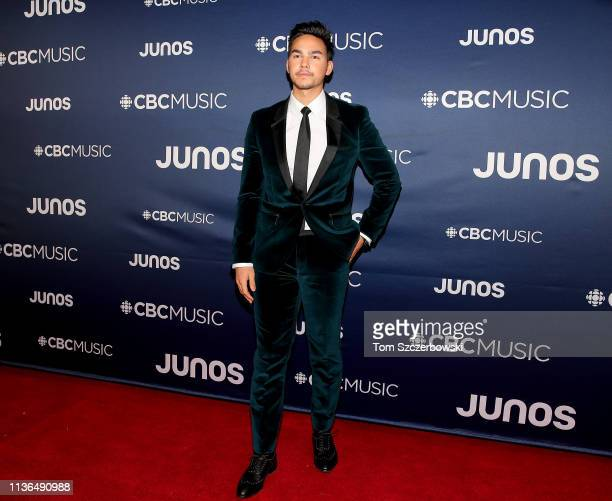 Tyler Shaw attends the 2019 Juno Awards Arrivals at Budweiser Gardens on March 17 2019 in London Canada