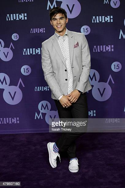 Tyler Shaw poses in the press room at the 2015 Much Music Video Awards at MuchMusic HQ on June 21 2015 in Toronto Canada