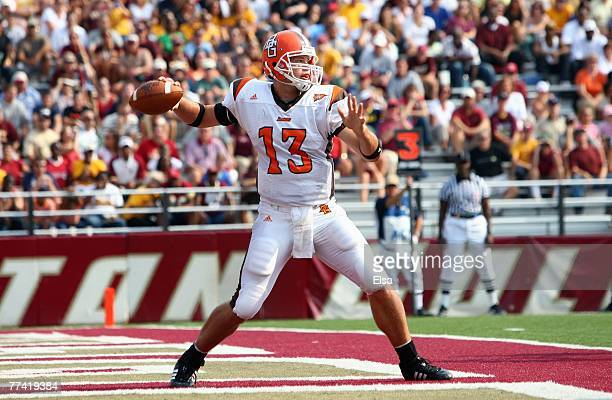 Tyler Sheehan of the Bowling Green Falcons passes the ball in the first half against the Boston College Eagles on October 6 2007 at Alumni Stadium in...